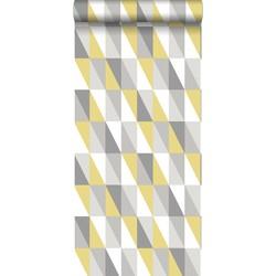 ESTAhome behang grafische driehoeken okergeel en grijs