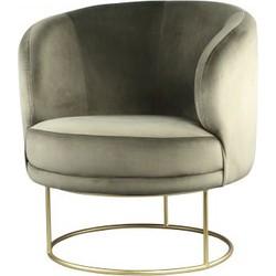 PTMD Xelena velvet groen fauteuil half round brass Iron
