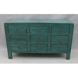 Fine Asianliving Antiek Chinees Glassy Teal Dressoir met Laden