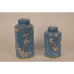 Fine Asianliving Chinese Decoratiepot Porselein Handbeschilderd Blauw Small