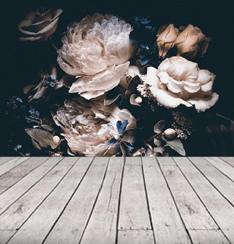 Behang Grote Bloemen.Zelfklevend Behang Bloemen Zwart Vintage 230x242