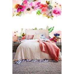 Vliesbehang XL Waterverf bloemen boven onder 250x250 cm