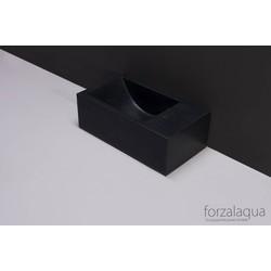 Forzalaqua Venetia XS Fontein Rechts 29x16x10 cm 1 kraangat Graniet Gebrand
