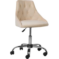 Bureaustoel met wielen beige fluweelstof PARRISH