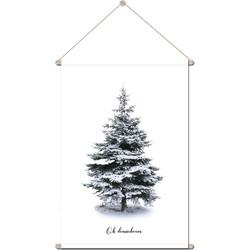 Textielposter - Schoolplaat - Kerst muurdecoratie Kerstposter Kerstboom poster - 90x120 cm