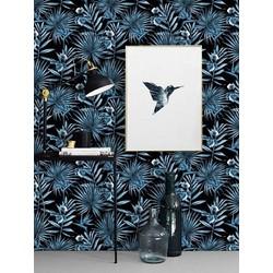Vliesbehang Jungle blauw zwart 122zx244 cm