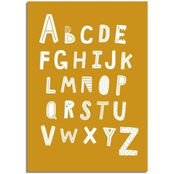 ABC poster - Alfabet poster - Mosterd geel
