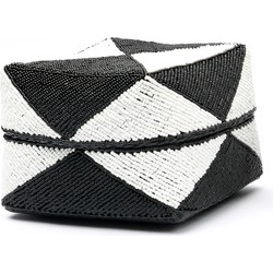 The Beaded Diamond Basket - Black White - L