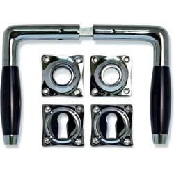 Deurklink - Klassiek nikkel, set (inc. sleutel rozetten)