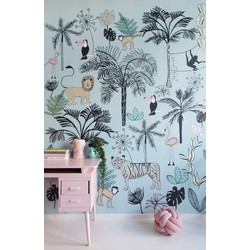 Jungle blauw kinderbehang Studio Claas