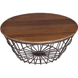 Bijzettafel/tafelmand Driftwood Teak - 69 x 69 x 30 cm
