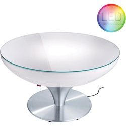 Moree - Ronde Salontafel Lounge - Hoogte 45 Cm LED Pro Outdoor - Wit
