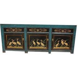 Fine Asianliving Antieke Chinese Glassy Teal Kast met Kraanvogels