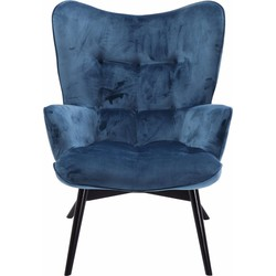 Kare Design Fauteuil Vicky Zithoogte 43 Cm - Velvet Stof Petrol