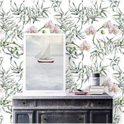 Zelfklevend behang Bloemenprint groen roze 60x122 cm