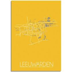 Leeuwarden Plattegrond poster Geel - B2 poster zonder fotolijst