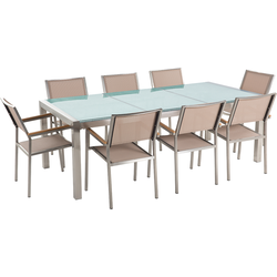 Tuinset matglas/RVS driedelig tafelblad 220 x 100 cm met 8 stoelen beige GROSSETO