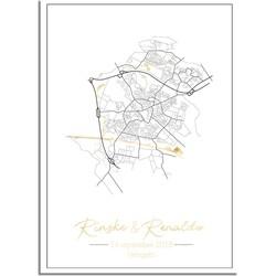 Huwelijksposter Goudfolie / Zilverfolie / Koperfolie Stadskaart - Huwelijkscadeau gepersonaliseerd  - A4 + Fotolijst wit