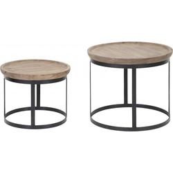 Light & Living Salontafel Machala - set van 2 -  43x35 - 53x45cm - hout-zwart