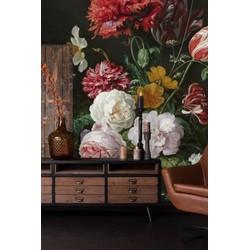 Vlies - 500 x 300 cm - Vaas bloemen zwart