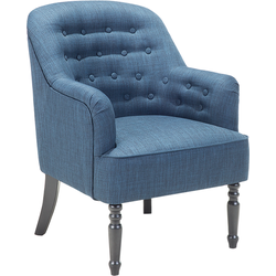 Fauteuil blauw - oorfauteuil - relaxfauteuil - televisiefauteuil - stoffen stoel - MANDAL