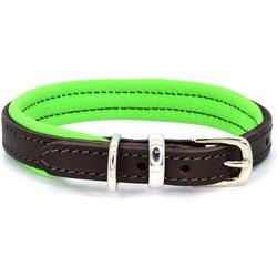 Dogs & Horses Lederen Halsband groen Nekmaat 29 - 37 cm
