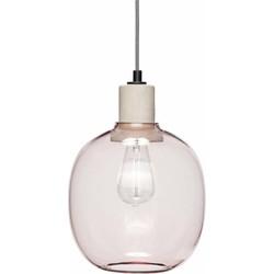 Hübsch 950413 Hanglamp glas roze beton - ø23xH30cm