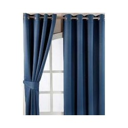 Navy Blue Herringbone Chevron Blackout Curtains Eyelet Style, 46x90""