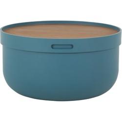 Ziv salontafel, blauw en walnotenhout