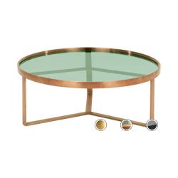 Aula salontafel, geborsteld koper en groen glas
