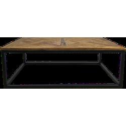 Salontafel Mozaiek - 110x70 cm - naturel wax/zwart - teak/ijzer