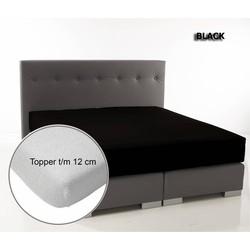 Ambianzz Dubbel Jersey Topper hoeslaken - Zwart - 2-persoons (140/160x200/220 cm)