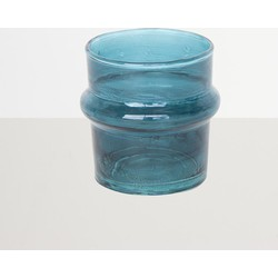Recycled Handmade Glass Tea Light Holder - Teal