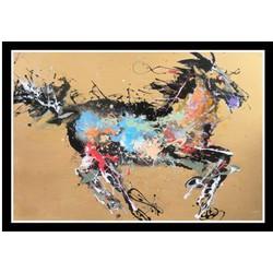 Fine Asianliving Oosters Schilderij Paard Gele Achtergrond