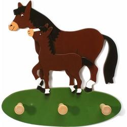 Kapstok Paard met Veulen Hout - Weizenkorn