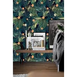 Zelfklevend behang Exotische planten groen zwart oranje