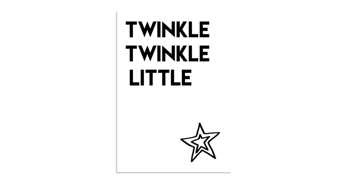 Twinkle Twinkle Little Star – Kerst Poster – Tekst poster – Zwart Wit poster kopen Accessoires? Dat doe je hier snel en voordelig – snel in huis bezorgd
