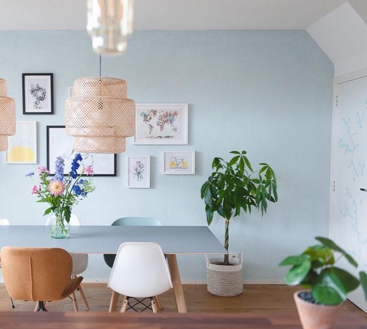 eetkamer blauw plant