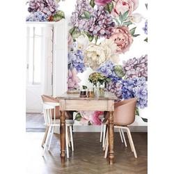 Vliesbehang XL Bloemen pastel 250x250 cm