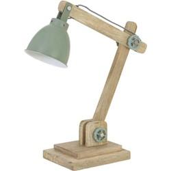 Bureaulamp 50x15x45 cm ELMER hout naturel+industrieel groen