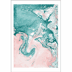 Turquoise Meets Pink Marble (21x29,7cm)
