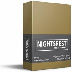 Nightsrest Jersey Hoeslaken - Olijfgroen Maat: 1-Persoons (80/90x200cm)