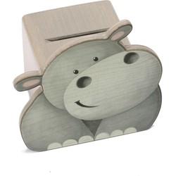 Spaarpot Gezicht Nijlpaard Hout  - Weizenkorn
