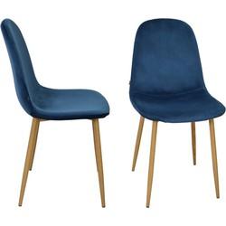 Stockholm stoel - velvet blauw - set van 4
