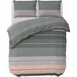Nightlife - Dekbedovertrek - Striped Linen - Gemengd katoen - Groen