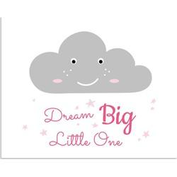 Dream Big Little One  - Kinderkamer poster - Wolk - Roze - A2 + Fotolijst zwart