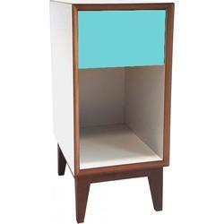 PIX nachtkastje klein met wit frame en donker turquoise voorkant
