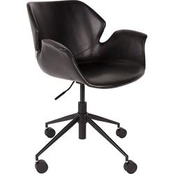 Zuiver Bureaustoel Nikki - Zwart Vintage Kunstleer - Zwarte Kruispoot Met Wielen