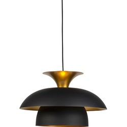 Modern Round Pendant Lamp Black with Gold 3-Layer - Titus