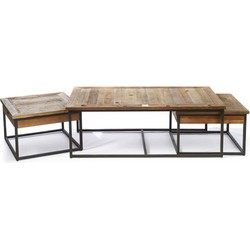 Rivièra Maison Shelter Island Coffee Table set - Bijzettafel - Staal/Hout